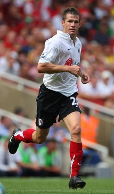 LONDON - AUGUST 12:  Brian McBride of Fulham in action during the Barclays Premier League match between Arsenal and Fulham at Emirates Stadium on August 12, 2007 in London, England.  (Photo by Mike Hewitt/Getty Images)