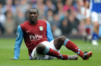 BIRMINGHAM, ENGLAND - OCTOBER 31:  Emile Heskey of Aston Villa during the Barclays Premier League match between Aston Villa and Birmingham City at Villa Park on October 31, 2010 in Birmingham, England.  (Photo by Chris Brunskill/Getty Images)