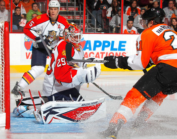 PHILADELPHIA, PA - DECEMBER 20:  Goalie Tomas Vokoun #29 makes a save off a shot by James van Riemsdyk #21 of the Philadelphia Flyers during a hockey game at the Wells Fargo Center on December 20, 2010 in Philadelphia, Pennsylvania.  (Photo by Paul Beresw