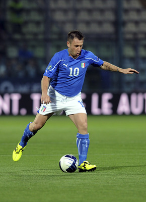 MODENA, ITALY - JUNE 03:  Antonio Cassano of Italy in action  during the UEFA EURO 2012 Group C qualifying match between Italy and Estonia on June 3, 2011 in Modena, Italy.  (Photo by Dino Panato/Getty Images)