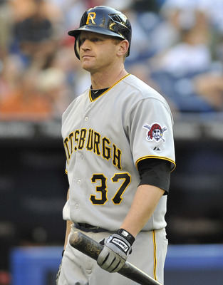 TORONTO, CANADA - JUNE 30:  Lyle Overbay #37 of the Pittsburgh Pirates looks on during a break in MLB interleague game action against the Toronto Blue Jays June 30, 2011 at Rogers Centre in Toronto, Ontario, Canada. (Photo by Brad White/Getty Images)