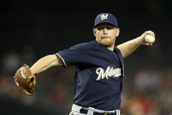 PHOENIX, AZ - JULY 18:  Starting pitcher Randy Wolf #43 of the Milwaukee Brewers pitches against the Arizona Diamondbacks during the Major League Baseball game at Chase Field on July 18, 2011 in Phoenix, Arizona.  (Photo by Christian Petersen/Getty Images