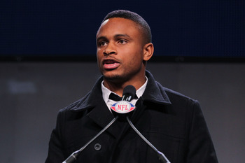 DALLAS, TX - FEBRUARY 04:  Walter Payton NFL Man of the Year Award finalist Nnamdi Asomugha of the Oakland Raiders speaks during a press conference at the Super Bowl XLV media center on February 4, 2011 in Dallas, Texas. The Green Bay Packers will play th