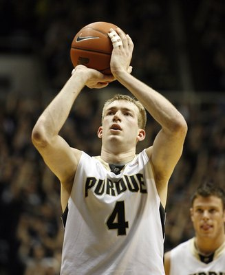 WEST LAFAYETTE, IN - JANUARY 12:  Robbie Hummel #4 of the Purdue Boilermakers shoots the ball during the Big Ten game against the Ohio State Buckeyes at Mackey Arena on January 12, 2010 in West Lafayette, Indiana. Ohio State won 70-66.  (Photo by Andy Lyo
