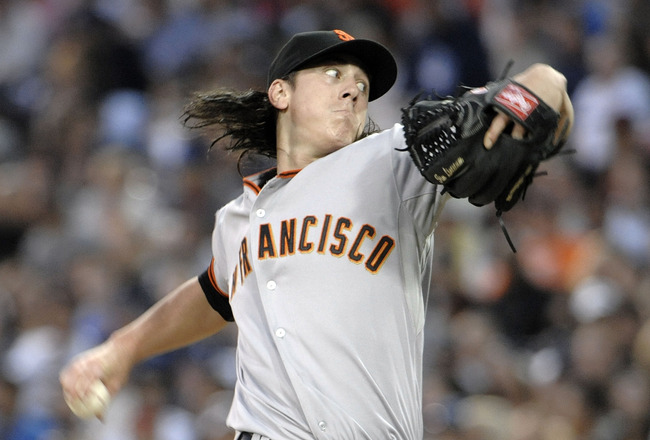 SAN DIEGO, CA - JULY 15: Tim Lincecum #55 of the San Francisco Giants pitches during the third inning of a baseball game against the San Diego Padres at Petco Park on July 15, 2011 in San Diego, California.  (Photo by Denis Poroy/Getty Images)