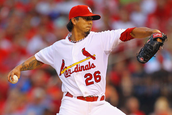ST. LOUIS, MO - JULY 8: Starter Kyle Lohse #26 of the St. Louis Cardinals pitches against the Arizona Diamondbacks at Busch Stadium on July 8, 2011 in St. Louis, Missouri.  (Photo by Dilip Vishwanat/Getty Images)