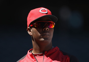 PHOENIX, AZ - APRIL 10:  Edgar Renteria #16 of the Cincinnati Reds during the Major League Baseball game against the Arizona Diamondbacks at Chase Field on April 10, 2011 in Phoenix, Arizona.   The Diamondbacks defeated the Reds 10-8.  (Photo by Christian