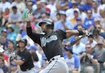 CHICAGO, IL - JULY 17:  Hanley Ramirez #2 of the Florida Marlins hits a solo home run during the first inning against  the Chicago Cubs at Wrigley Field on July 17, 2011 in Chicago, Illinois.  (Photo by Brian Kersey/Getty Images)