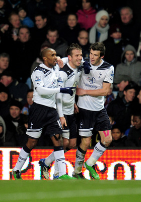 BIRMINGHAM, ENGLAND - DECEMBER 26:  (L-R) Jermaine Defoe, Rafael Van Der Vaart and Gareth Bale of Tottenham celebrate after Van Der Vaart scores the opening goal during the Barclays Premier League match between Aston Villa and Tottenham Hotspur at Villa P