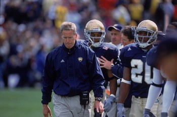 6 Oct 2001:  Head Coach Bob Davie of the Notre Dame Fighting Irish walks along with his team during the game against the Pittsburgh Panthers at the Notre Dame Stadium in South Bend, Indiana. The Fighting Irish defeated the Panthers 24-7.Mandatory Credit: