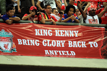 KUALA LUMPUR, MALAYSIA - JULY 16: Liverpool fans show their support during the pre-season friendly match between Malaysia and Liverpool at the Bukit Jalil National Stadium on July 16, 2011 in Kuala Lumpur, Malaysia. (Photo by Stanley Chou/Getty Images)
