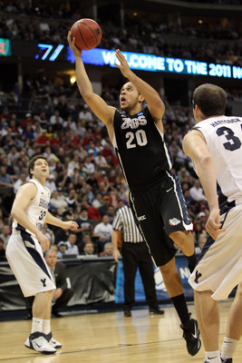 DENVER, CO - MARCH 19:  Elias Harris #20 of the Gonzaga Bulldogs goes to the hoop against the Brigham Young Cougars during the third round of the 2011 NCAA men's basketball tournament at Pepsi Center on March 19, 2011 in Denver, Colorado.  (Photo by Justi