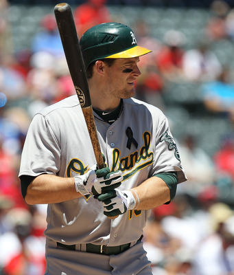 ARLINGTON, TX - JULY 10:  Josh Willingham #16 of the Oakland Athletics at Rangers Ballpark in Arlington on July 10, 2011 in Arlington, Texas.  (Photo by Ronald Martinez/Getty Images)