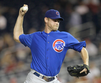 WASHINGTON, DC - JULY 06:  Reliever Kerry Wood #34 of the Chicago Cubs pitches against the Washington Nationals during the seventh inning at Nationals Park on July 6, 2011 in Washington, DC.  (Photo by Rob Carr/Getty Images)