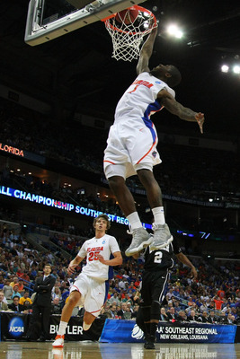 NEW ORLEANS, LA - MARCH 26:  Kenny Boynton #1 of the Florida Gators dunks on the Butler Bulldogs during the Southeast regional final of the 2011 NCAA men's basketball tournament at New Orleans Arena on March 26, 2011 in New Orleans, Louisiana.  (Photo by
