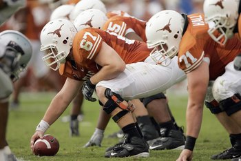 AUSTIN, TX - SEPTEMBER 29: Center Dallas Griffin #67 of the Texas Longhorns gets ready to hike the ball during the game against of the Kansas State Wildcats on September 29, 2007 at Darrell K Royal-Texas Memorial Stadium in Austin, Texas.  Kansas State wo