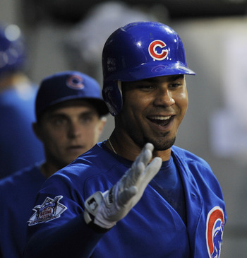 CHICAGO, IL - JUNE 21: Carlos Pena # 22 of the Chicago Cubs is greeted by his teammates after hitting a home run in the fifth inning against the Chicago White Sox on June 21, 2011 at U.S. Cellular Field in Chicago, Illinois.  (Photo by David Banks/Getty I