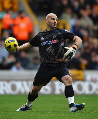 WOLVERHAMPTON, ENGLAND - OCTOBER 30:  Marcus Hahnemann of Wolves in action during the Barclays Premier League match between Wolverhampton Wanderers and Manchester City at Molineux on October 30, 2010 in Wolverhampton, England.  (Photo by Laurence Griffith