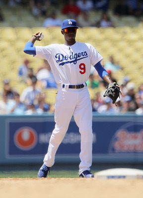 LOS ANGELES, CA - JUNE 25:  Dee Gordon #9 of the Los Angeles Dodgers plays against the Los Angeles Angels of Anaheim at Dodger Stadium on June 25, 2011 in Los Angeles, California.  (Photo by Jeff Gross/Getty Images)