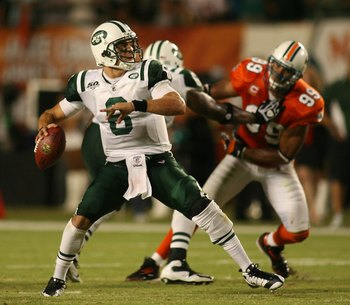 MIAMI - OCTOBER 12:  Quarterback Mark Sanchez #6  of the New York Jets scrambles against the Miami Dolphins at Land Shark Stadium on October 12, 2009 in Miami, Florida. Miami defeated New York 31-27.  (Photo by Marc Serota/Getty Images)