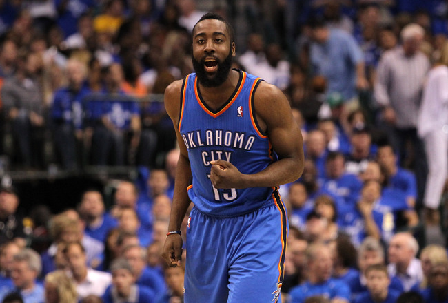 DALLAS, TX - MAY 25:  James Harden #13 of the Oklahoma City Thunder reacts in the second half while taking on the Dallas Mavericks in Game Five of the Western Conference Finals during the 2011 NBA Playoffs at American Airlines Center on May 25, 2011 in Da