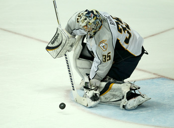 ANAHEIM - APRIL 22:  Goalie Pekka Rinne #35 of the Nashville Predators makes a save against the Anaheim Ducks in Game Five of the Western Conference Quarterfinals during the 2011 NHL Stanley Cup Playoffs at Honda Center on April 22, 2011 in Anaheim, Calif