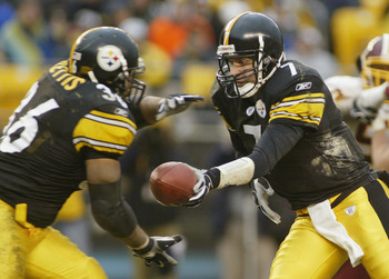 PITTSBURGH - NOVEMBER 28:  Quarterback Ben Roethlisberger #7 of the Pittsburgh Steelers hands-off the ball to Jerome Bettis #36 during the game against the Washington Redskins on November 28, 2004 at Heinz Field in Pittsburgh, Pennsylvania. The Steelers d