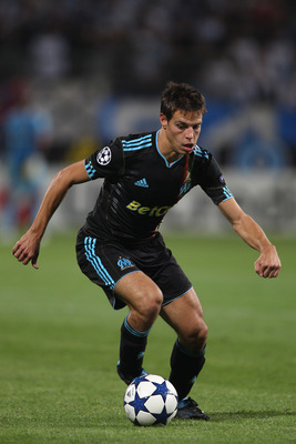 MARSEILLE, FRANCE - SEPTEMBER 15: Cesar Azpilicueta of Marseille during the UEFA Champions League Group F match between Olympique Marseille and Spartak Moscow at the Stade Velodrome on September 15, 2010 in Marseille, France.  (Photo by Michael Steele/Get