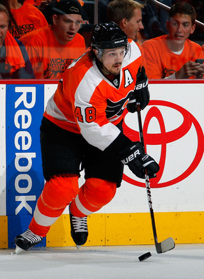 PHILADELPHIA, PA - MAY 02:  Danny Briere #48 of the Philadelphia Flyers skates during Game Two of the Eastern Conference Semifinals against the Boston Bruins during the 2011 NHL Stanley Cup Playoffs at Wells Fargo Center on May 2, 2011 in Philadelphia, Pe