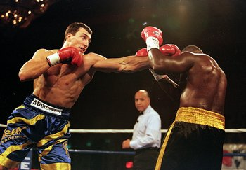 12 Nov 1999:  Wladimir Klitschko throws a left punch during the fight against Phil Jackson at the Orleans Hotel in Las Vegas, Nevada. Wladimir Klitschko defeated Phil Jackson by a K.O. in the 2nd round. Mandatory Credit: Al Bello  /Allsport