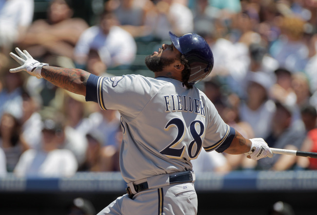 DENVER, CO - JULY 17:  Prince Fielder #28 of the Milwaukee Brewers takes an at bat against the Colorado Rockies at Coors Field on July 17, 2011 in Denver, Colorado.  (Photo by Doug Pensinger/Getty Images)