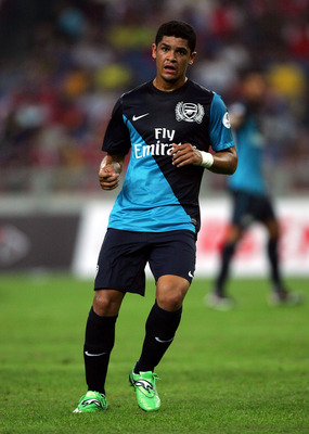 KUALA LUMPUR, MALAYSIA - JULY 13: Denilson of Arsenal in action during the pre-season Asian Tour friendly match between Malaysia and Arsenal at Bukit Jalil National Stadium on July 13, 2011 in Kuala Lumpur, Malaysia.  (Photo by Stanley Chou/Getty Images)