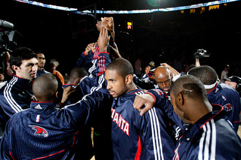 ATLANTA, GA - MAY 08:  The Atlanta Hawks huddle before facing the Chicago Bulls in Game Four of the Eastern Conference Semifinals in the 2011 NBA Playoffs at Phillips Arena on May 8, 2011 in Atlanta, Georgia.  NOTE TO USER: User expressly acknowledges and