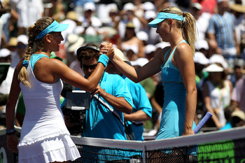 KEY BISCAYNE, FL - APRIL 02:  Victoria Azarenka of Belarus is congratulated by Maria Sharapova (R) of Russia after Azarenka won their women's singles championship at the Sony Ericsson Open at Crandon Park Tennis Center on April 2, 2011 in Key Biscayne, Fl
