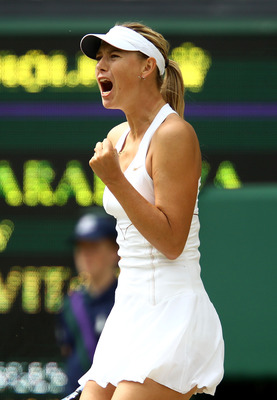 LONDON, ENGLAND - JULY 02:  Maria Sharapova of Russia reacts to a play during her Ladies' final round match against Petra Kvitova of the Czech Republic on Day Twelve of the Wimbledon Lawn Tennis Championships at the All England Lawn Tennis and Croquet Clu