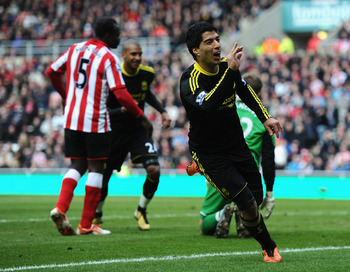 SUNDERLAND, ENGLAND - MARCH 20:  Luis Suarez of Liverpool celebrates his goal during the Barclays Premier League match between Sunderland and Liverpool at the Stadium of Light on March 20, 2011 in Sunderland, England.  (Photo by Laurence Griffiths/Getty I