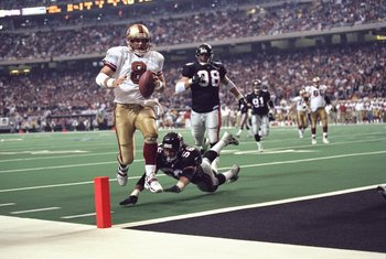 9 Jan 1999: Quarterback Steve Young #8 of the San Francisco 49ers in action during the NFC Play Off Game against the Atlanta Falcons at the Georgia Dome in Atlanta, Georgia. The Falcons defeated the 49ers 20-18.