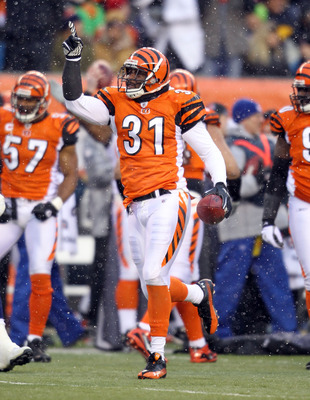 CINCINNATI - DECEMBER 26: Roy Williams #31 of the Cincinnati Bengals celebrates after recovering a fumble during the NFL game against the San Diego Chargers at Paul Brown Stadium on December 26, 2010 in Cincinnati, Ohio. The Bengals 34-20. (Photo by Andy