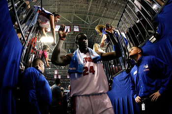 AUBURN HILLS, MI - MAY 13:  Antonio McDyess #24 of the Detroit Pistons is congratulated by the fans after their 91-86 win against the Orlando Magic in Game Five of the Eastern Conference Semifinals during the 2008 NBA Playoffs at the Palace of Auburn Hill