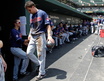 BALTIMORE, MD - JULY 17:  Grady Sizemore #24 of the Cleveland Indians heads to the clubhouse after leaving the game against the Baltimore Orioles during the first inning at Oriole Park at Camden Yards on July 17, 2011 in Baltimore, Maryland.  (Photo by Ro