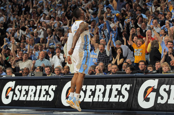 DENVER, CO - APRIL 25:  J.R. Smith #5 of the Denver Nuggets excites the fans as he celebrates making a three point shot against the Oklahoma City Thunder in Game Four of the Western Conference Quarterfinals in the 2011 NBA Playoffs on April 24, 2011 at th