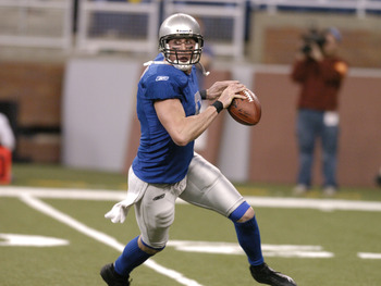 Detroit Lions quarterback Mike McMahon looks to pass    against the Indianapolis Colts in a Thanksgiving Day game, November 25, 2005 in Detroit.  (Photo by Al Messerschmidt/Getty Images)