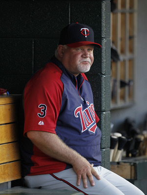 DETROIT - JUNE 01: Minnesota Twins manager Ron Gardenhire #35 watches the action from the dugout during the game against the Detroit Tigers at Comerica Park on June 1, 2011 in Detroit, Michigan. The Tigers defeated the Twins 4-2. (Photo by Leon Halip/Gett