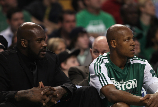 BOSTON, MA - APRIL 17:  Shaquille O'Neal #36 of the Boston Celtics sits on the bench with Ray Allen #20 in Game One of the Eastern Conference Quarterfinals in the 2011 NBA Playoffs on April 17, 2011 at the TD Garden in Boston, Massachusetts. NOTE TO USER: