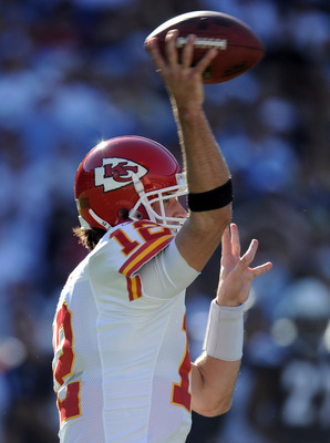 SAN DIEGO, CA - DECEMBER 12:  Brodie Croyle #12 of the Kansas City Chiefs passes in the pocket against the San Diego Chargers at Qualcomm Stadium on December 12, 2010 in San Diego, California.  (Photo by Harry How/Getty Images)