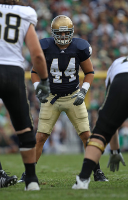 SOUTH BEND, IN - SEPTEMBER 04: Carlo Calabrese #44 of the Notre Dame Fighting Irish awaits the start of play against the Purdue Boilermakers at Notre Dame Stadium on September 4, 2010 in South Bend, Indiana. Notre Dame defeated Purdue 23-12. (Photo by Jon