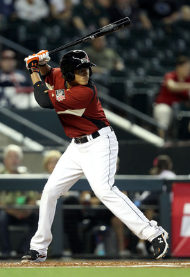 PHOENIX, AZ - JULY 10:  U.S. Futures All-Star Manny Machado #3 of the Baltimore Orioles takes an at bat during the 2011 XM All-Star Futures Game at Chase Field on July 10, 2011 in Phoenix, Arizona.  (Photo by Christian Petersen/Getty Images)