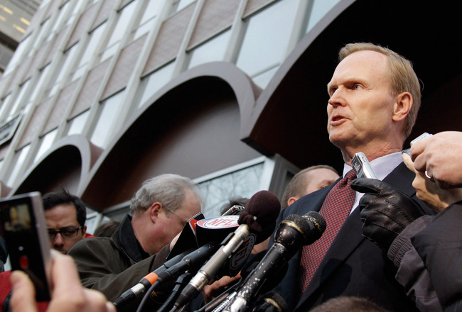 WASHINGTON, DC - MARCH 11:  New York Giants owner John Mara addresses the media at a news conference outside the Federal Mediation and Conciliation Service building March 11, 2011 in Washington, DC. The NFLPA has filed for decertification and will no long
