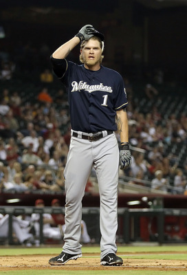 PHOENIX, AZ - JULY 18:  Corey Hart #1 of the Milwaukee Brewers reacts after striking out against the Arizona Diamondbacks during the third inning of the Major League Baseball game at Chase Field on July 18, 2011 in Phoenix, Arizona.  (Photo by Christian P