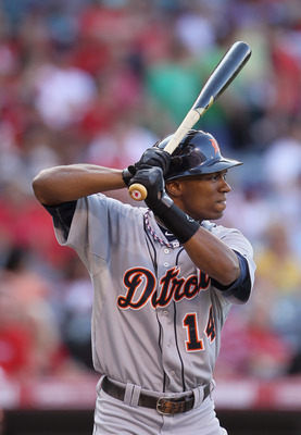 ANAHEIM, CA - JULY 04:  Austin Jackson #14 of the Detroit Tigers bats against the Los Angeles Angels of Anaheim at Angel Stadium of Anaheim on July 4, 2011 in Anaheim, California.  (Photo by Jeff Gross/Getty Images)